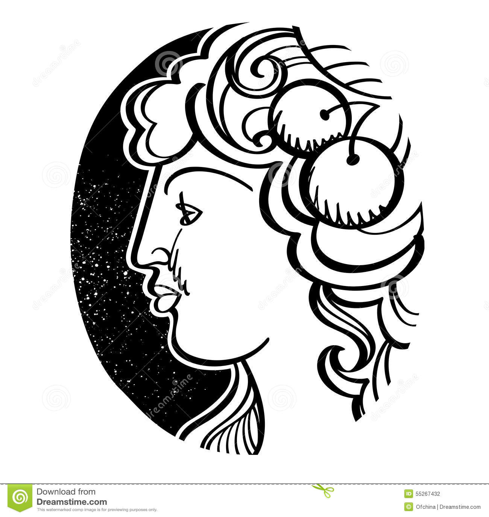 Womans Profile Demeter Ancient Greek Goddess Stock Vector