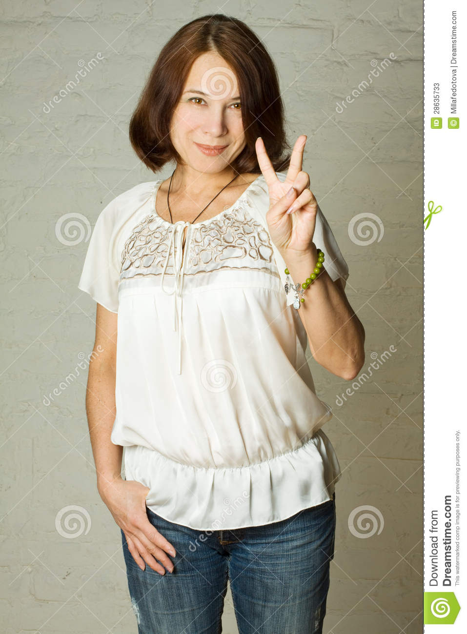 woman, 40s - smiling brunette stock image - image of white