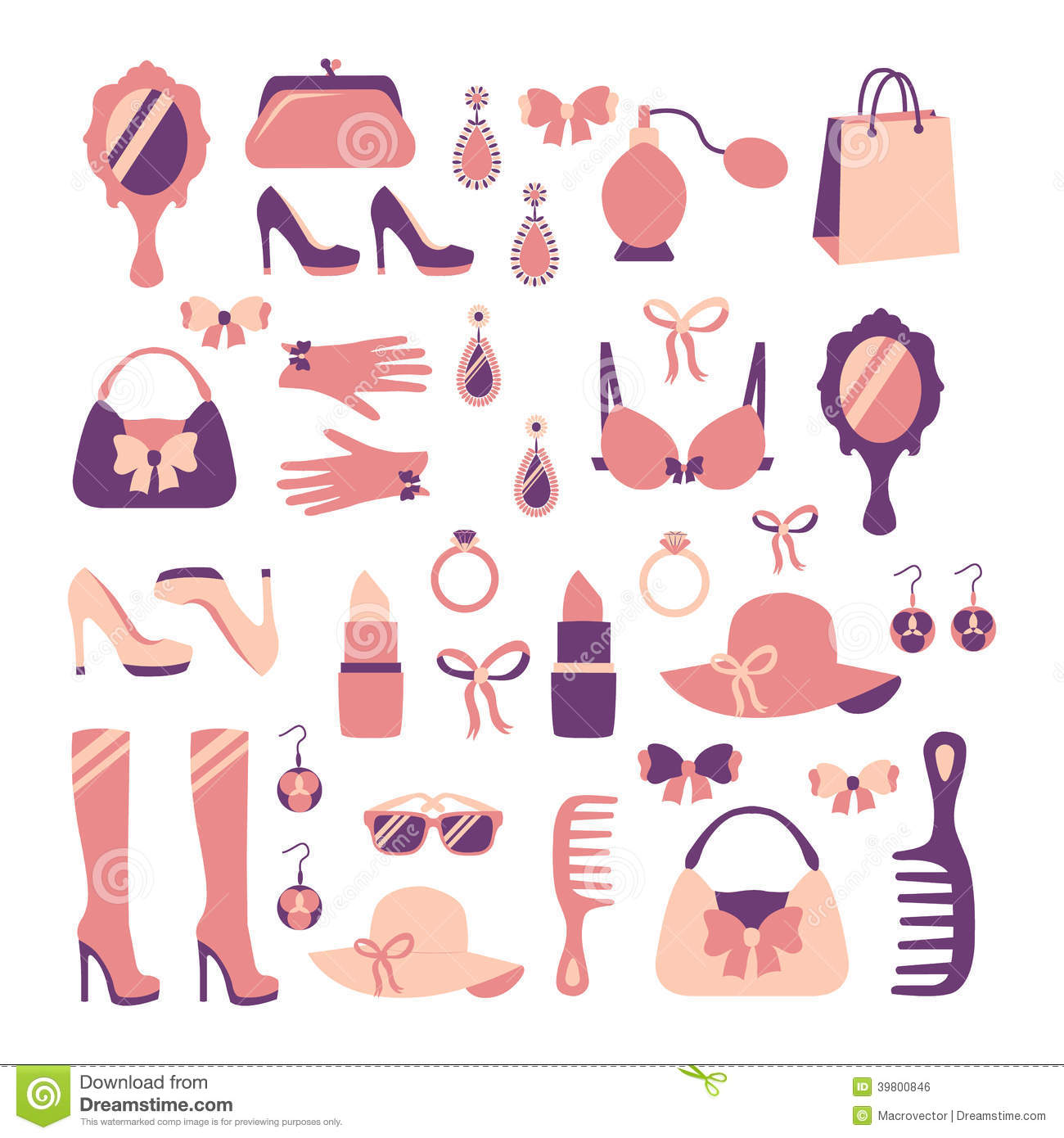 Woman Accessories Icon Set Stock Vector Image 39800846
