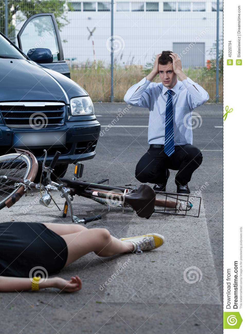 Woman After Accident On Bike Stock Photo - Image: 45220794