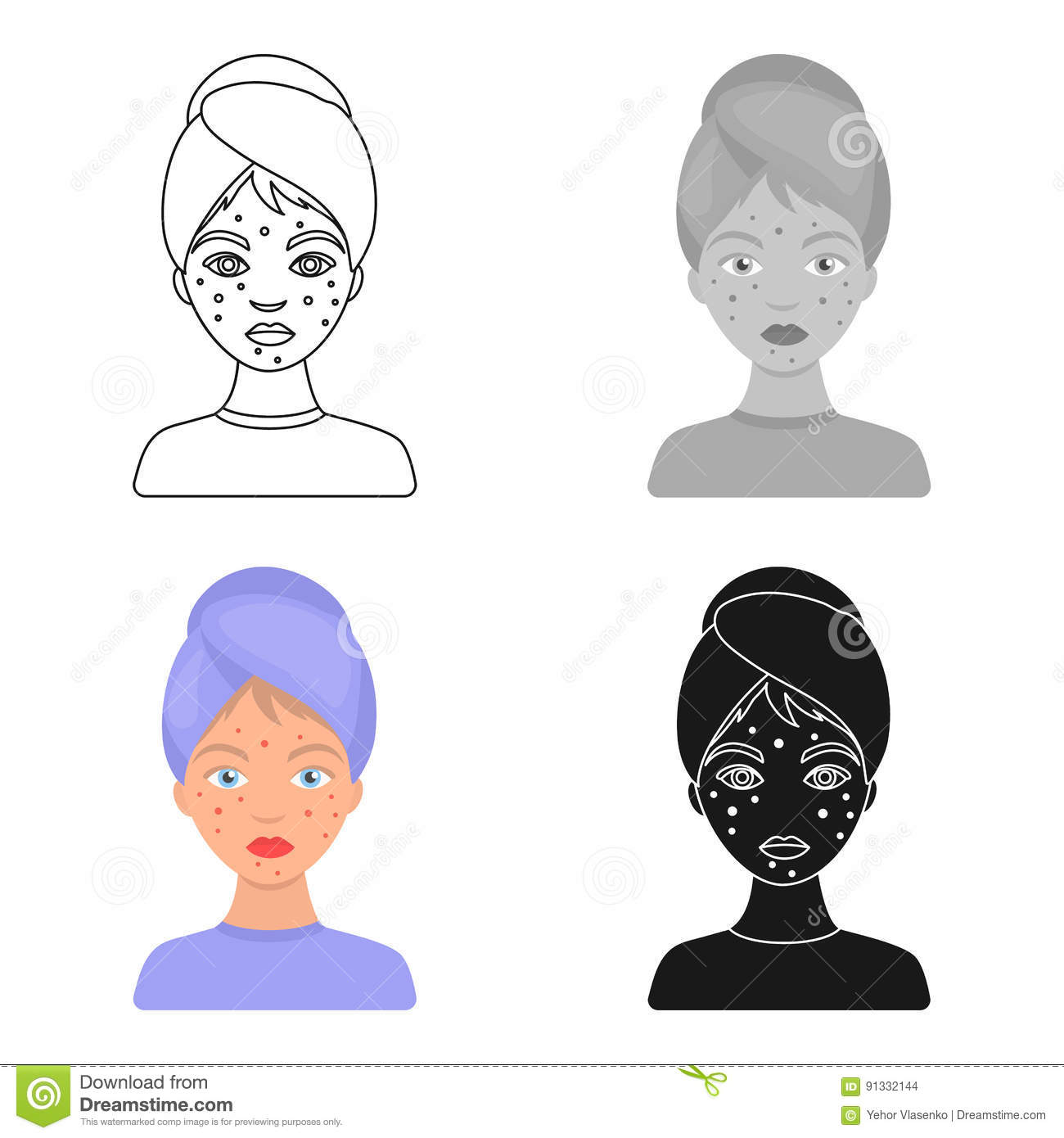 Woman With Acne Icon In Cartoon Style On White Background  Skin Care Symbol Stock Vector