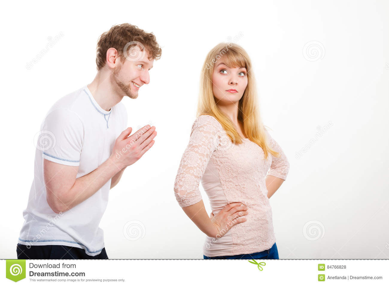 Woman Angry On Man Apologizing Her. Stock Photo - Image of