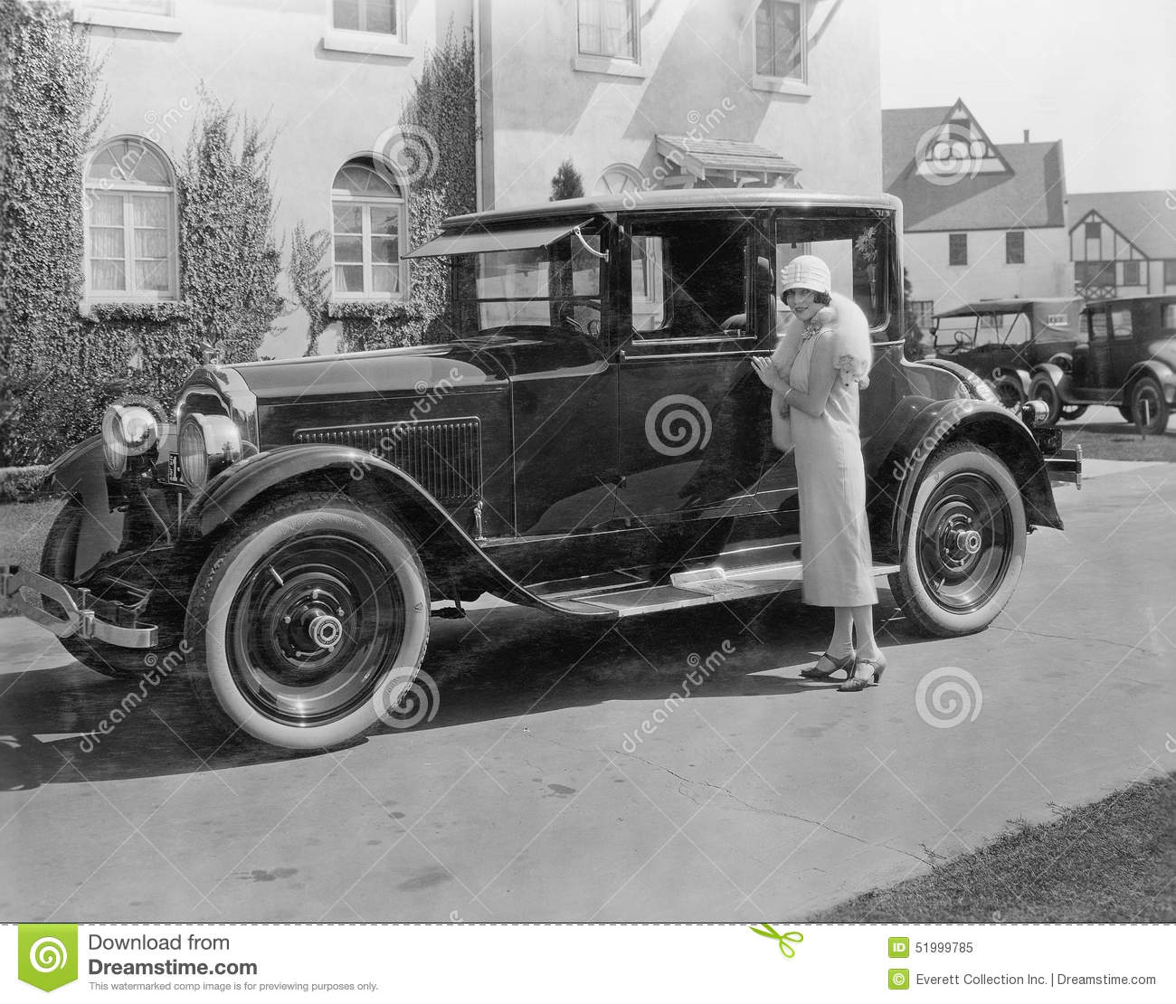 Woman With Antique Car Outside Large House Stock Photo - Image: 51999785