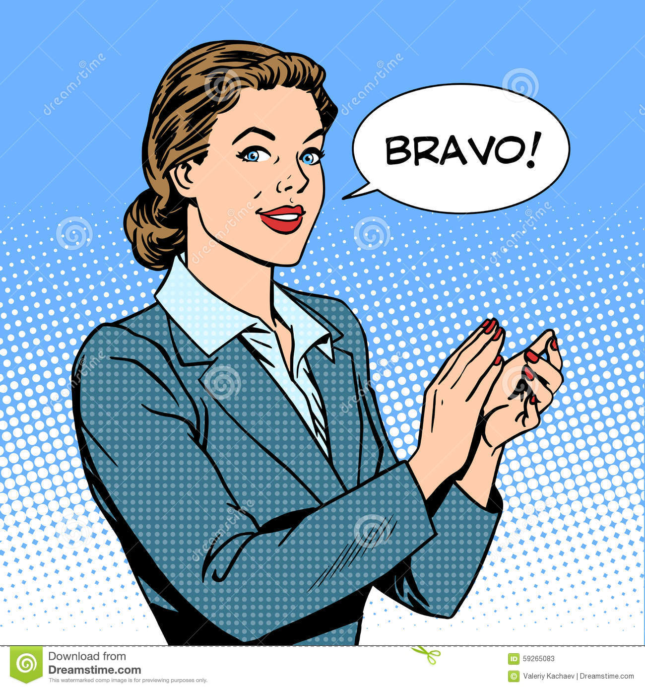 Woman Applause Bravo Concept Of Success Stock Vector