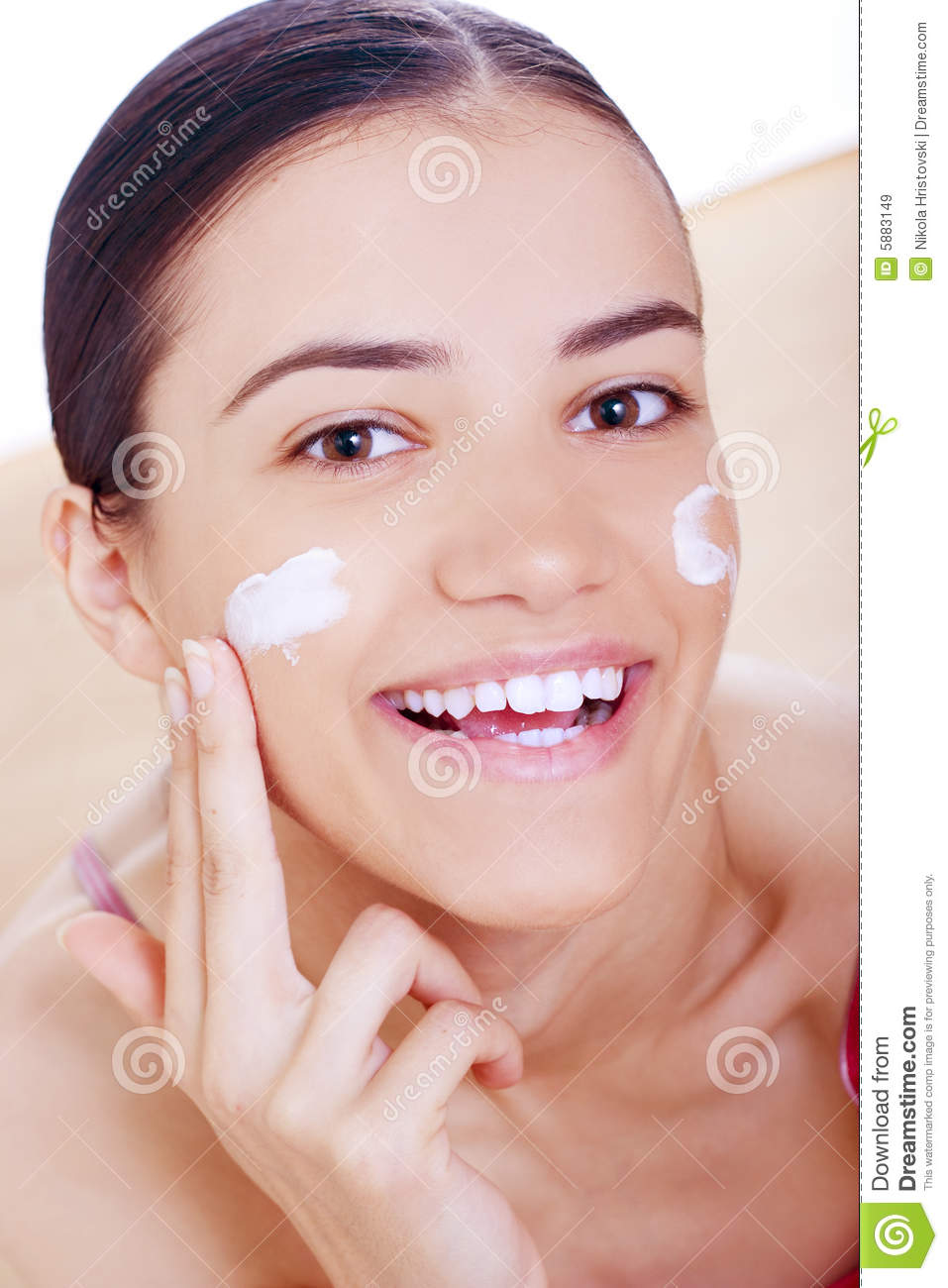 Woman Applying Cream On Her Face Royalty Free Stock Images Image 5883149