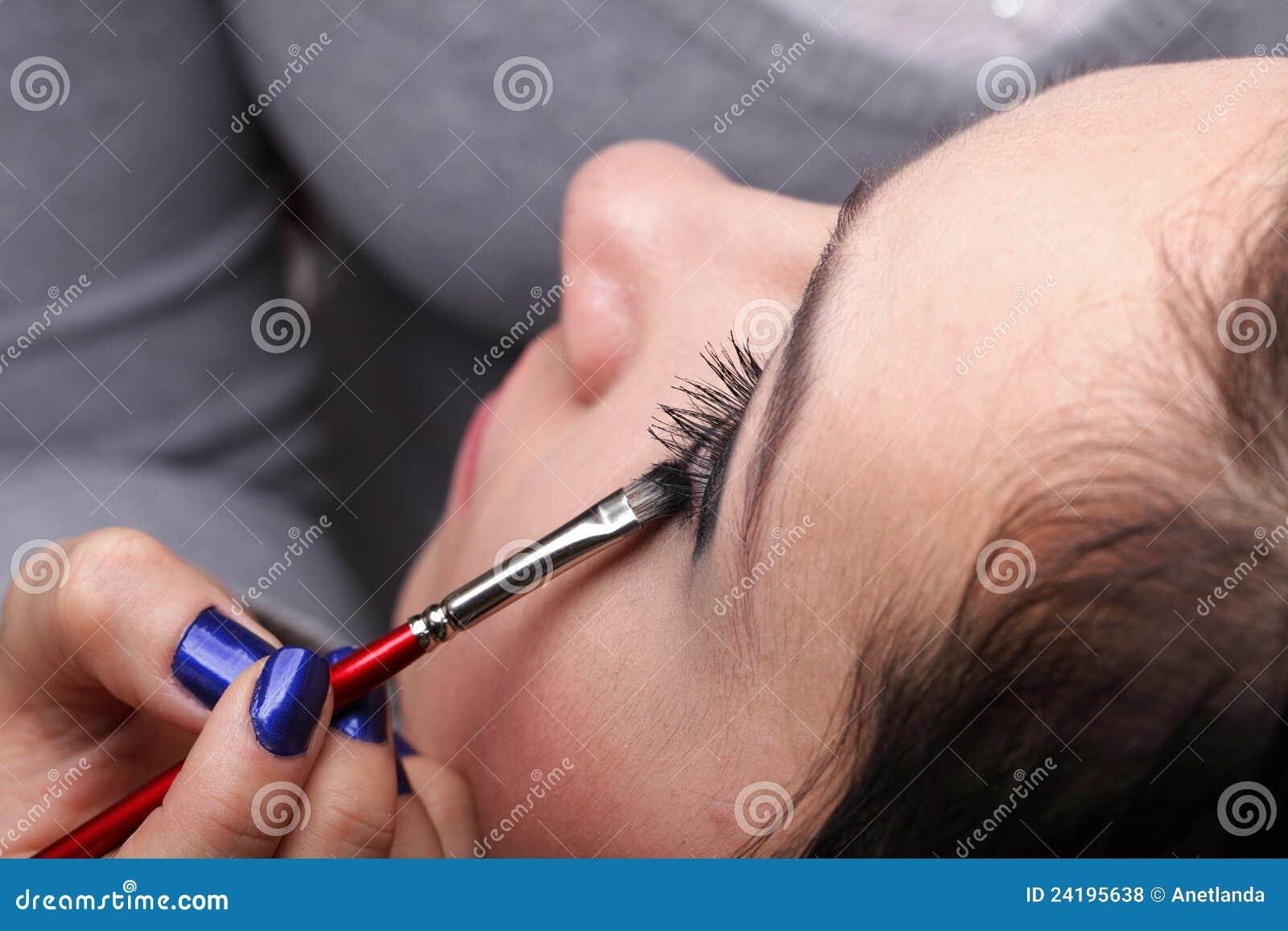 Woman Applying Eyeshadow Makeup Brush Royalty Free Stock