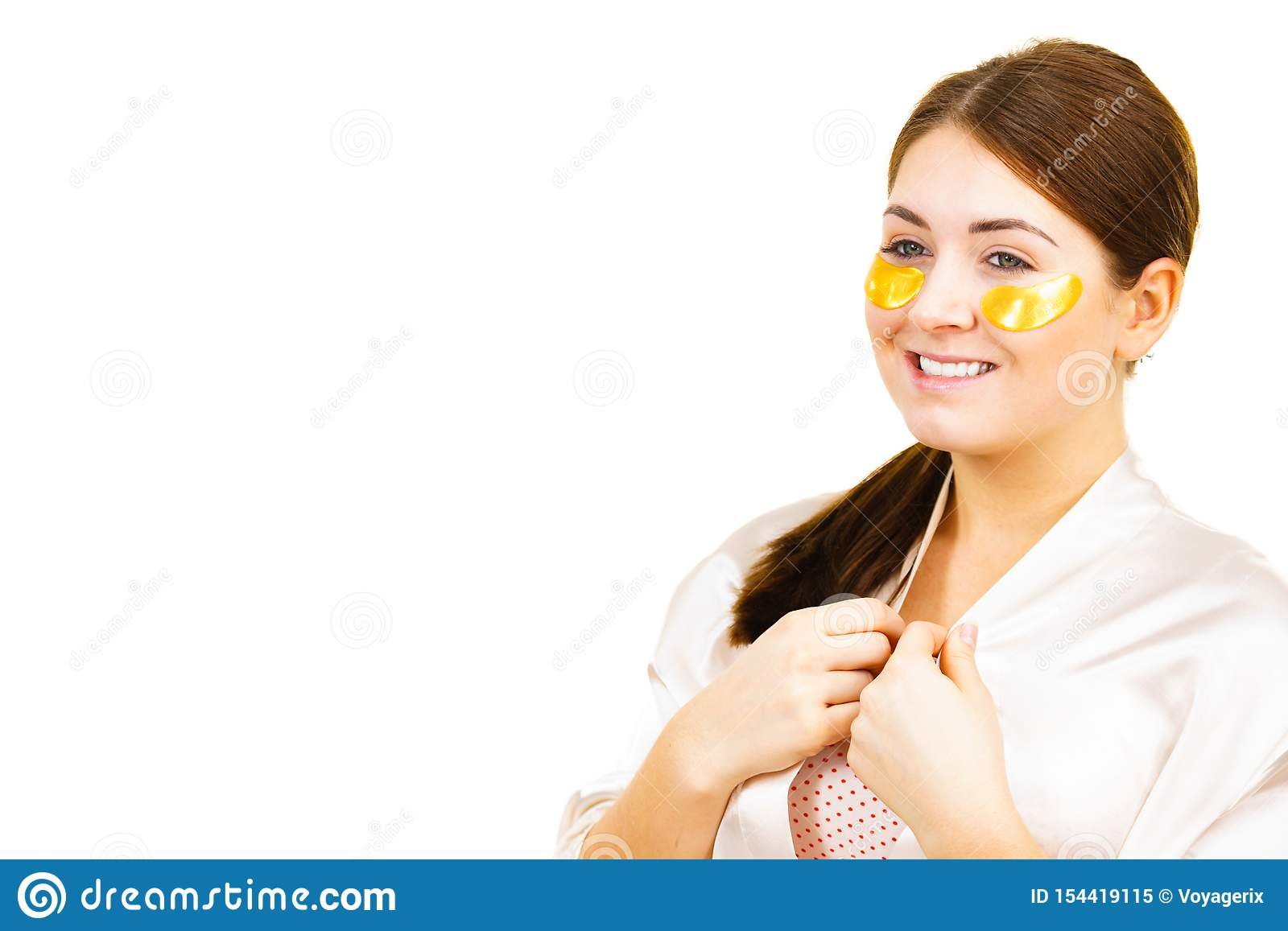 Woman With Gold Patches Under Eyes Stock Image - Image of ...