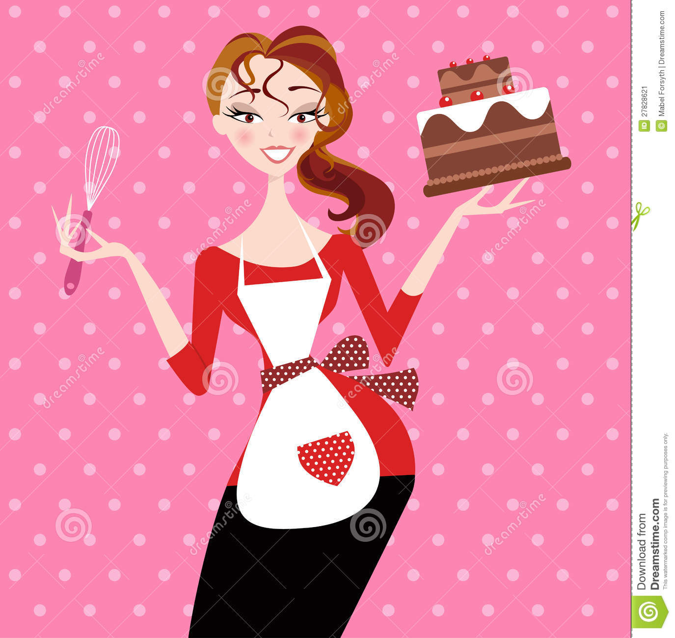 Stock Image: Woman in Apron Holding Chocolate Cake. Image: 27828621