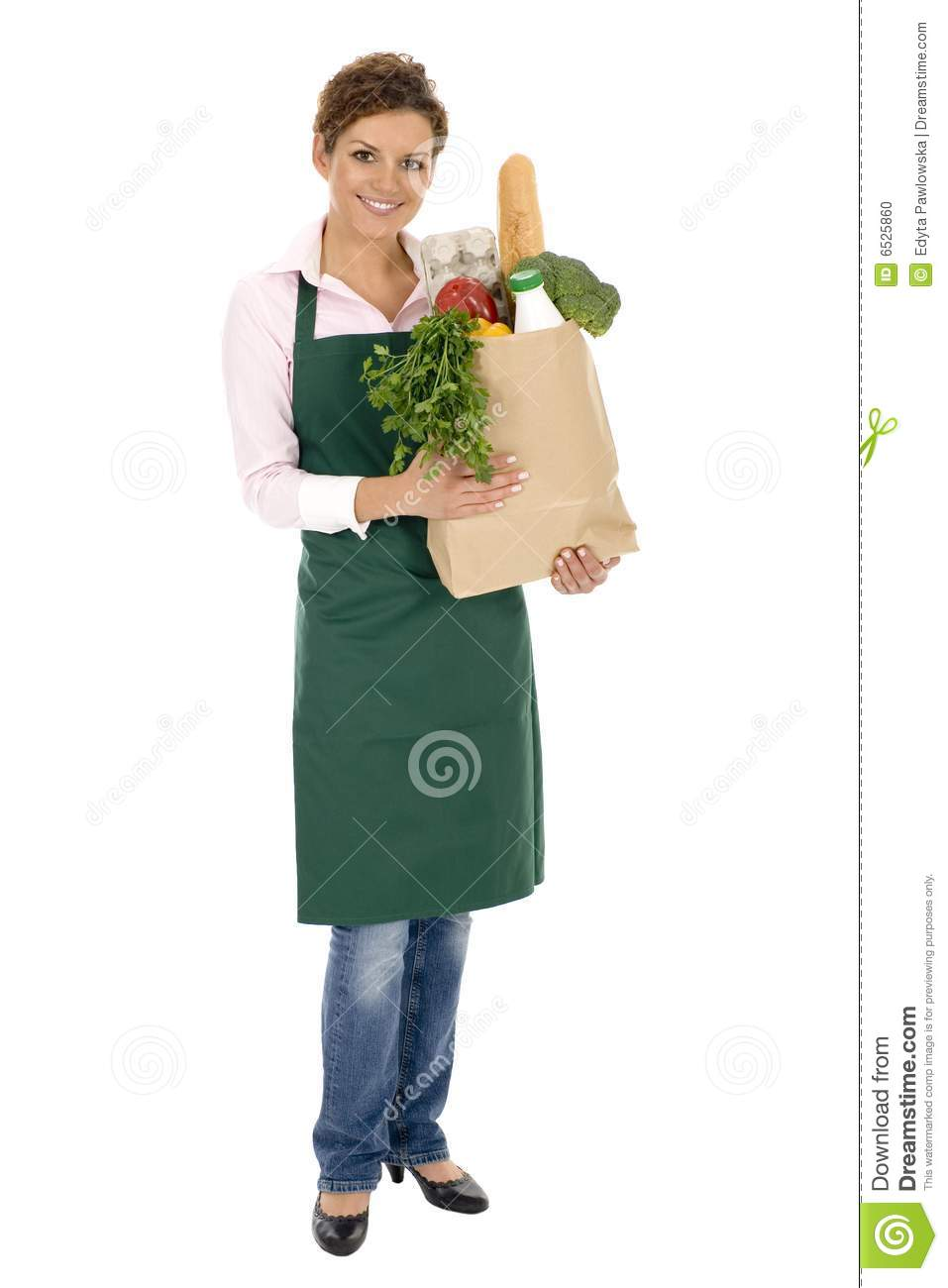 Original Young Woman Holding Christmas Gift Bag Royalty Free Stock Image - Image 22372616