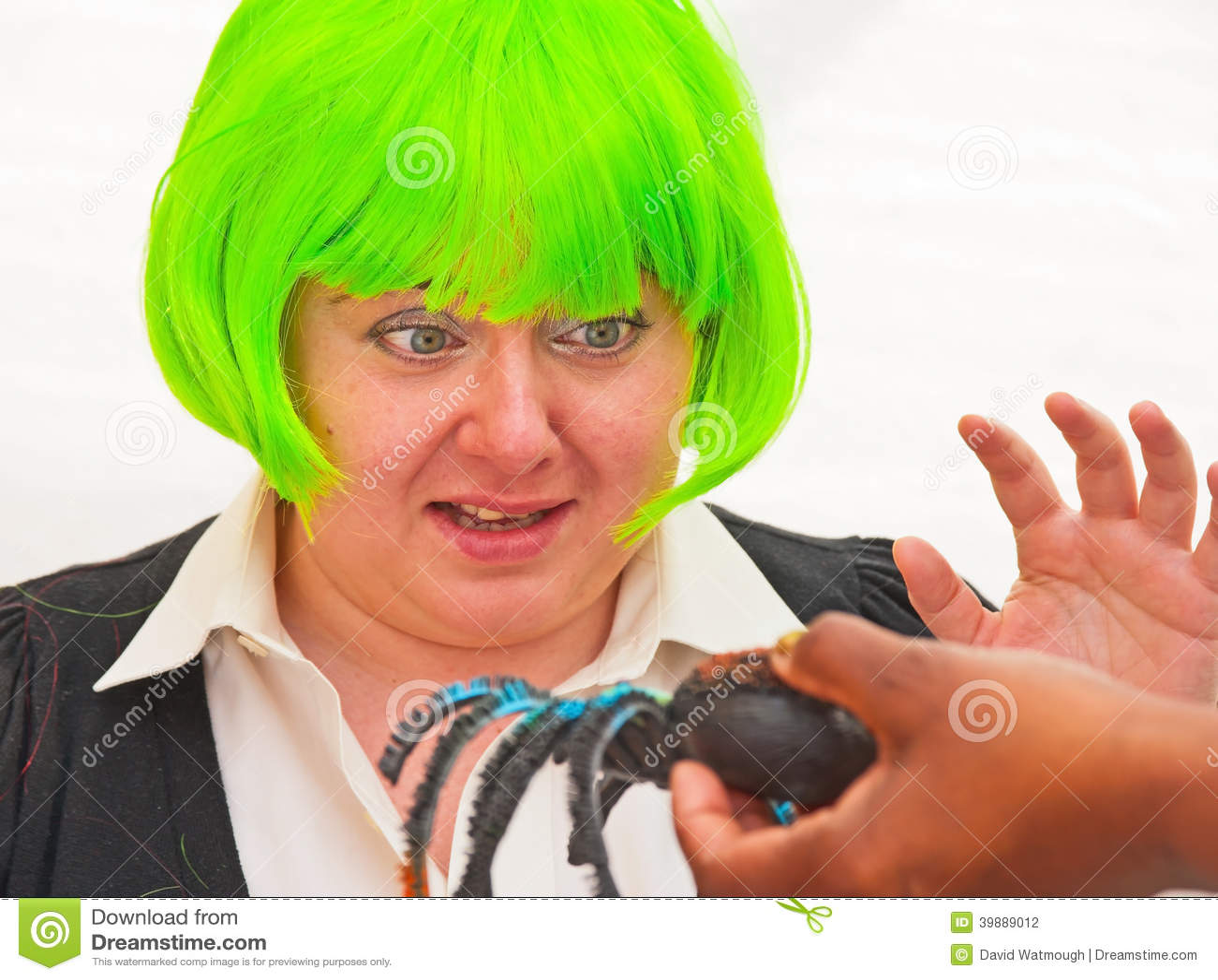Woman with arachnophobia