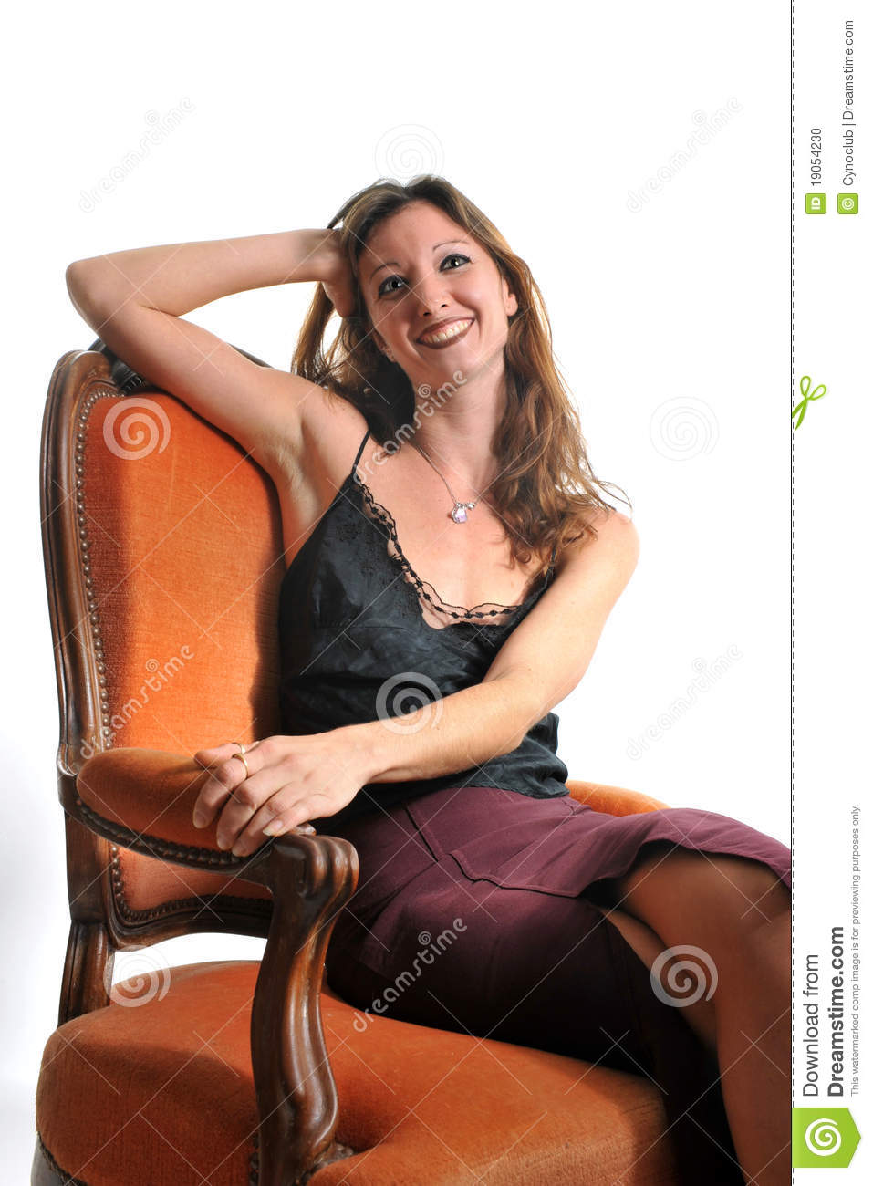 Woman On Armchair Stock Photo - Image: 19054230