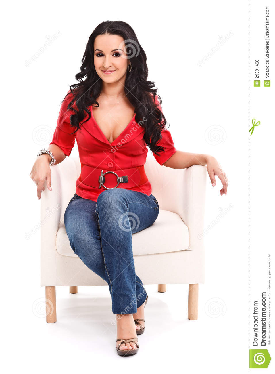 Woman in armchair stock photo image 29531460 for Sitting in armchair