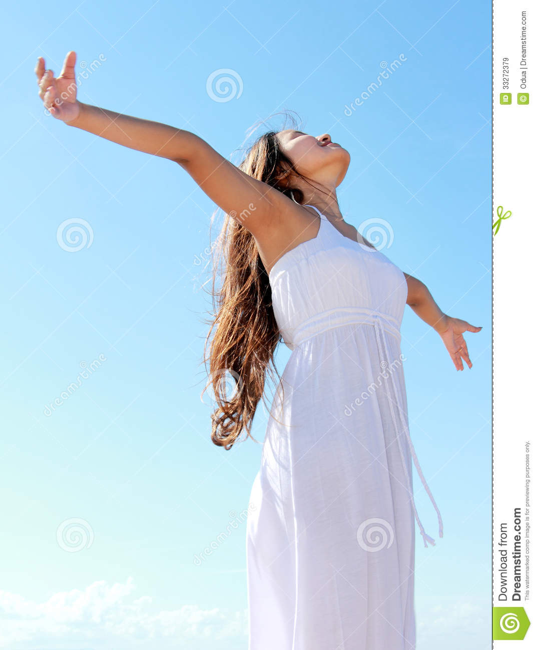 Woman Enjoying At Beach Stock Image Image Of Pleasure: Woman With Arms Open Enjoying Her Freedom Stock Image