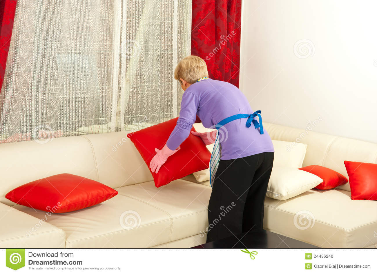 Woman Arrange Pillows On Sofa Stock Photo Image 24486240