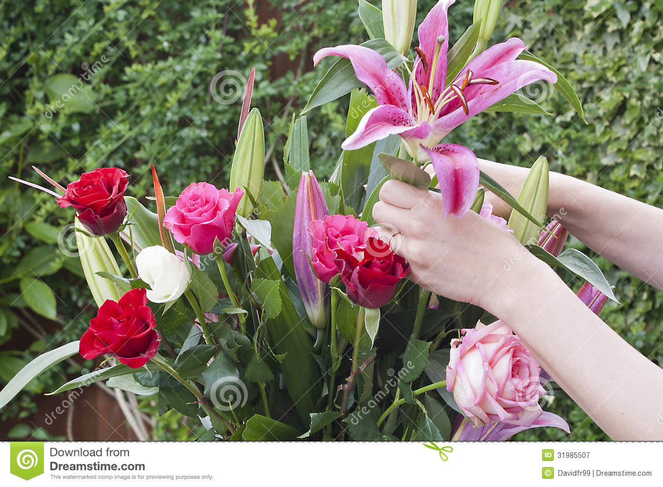 woman arranging a bouquet of flowers royalty free stock