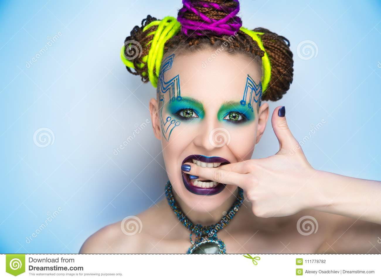 Woman art make up lines motherboard painted