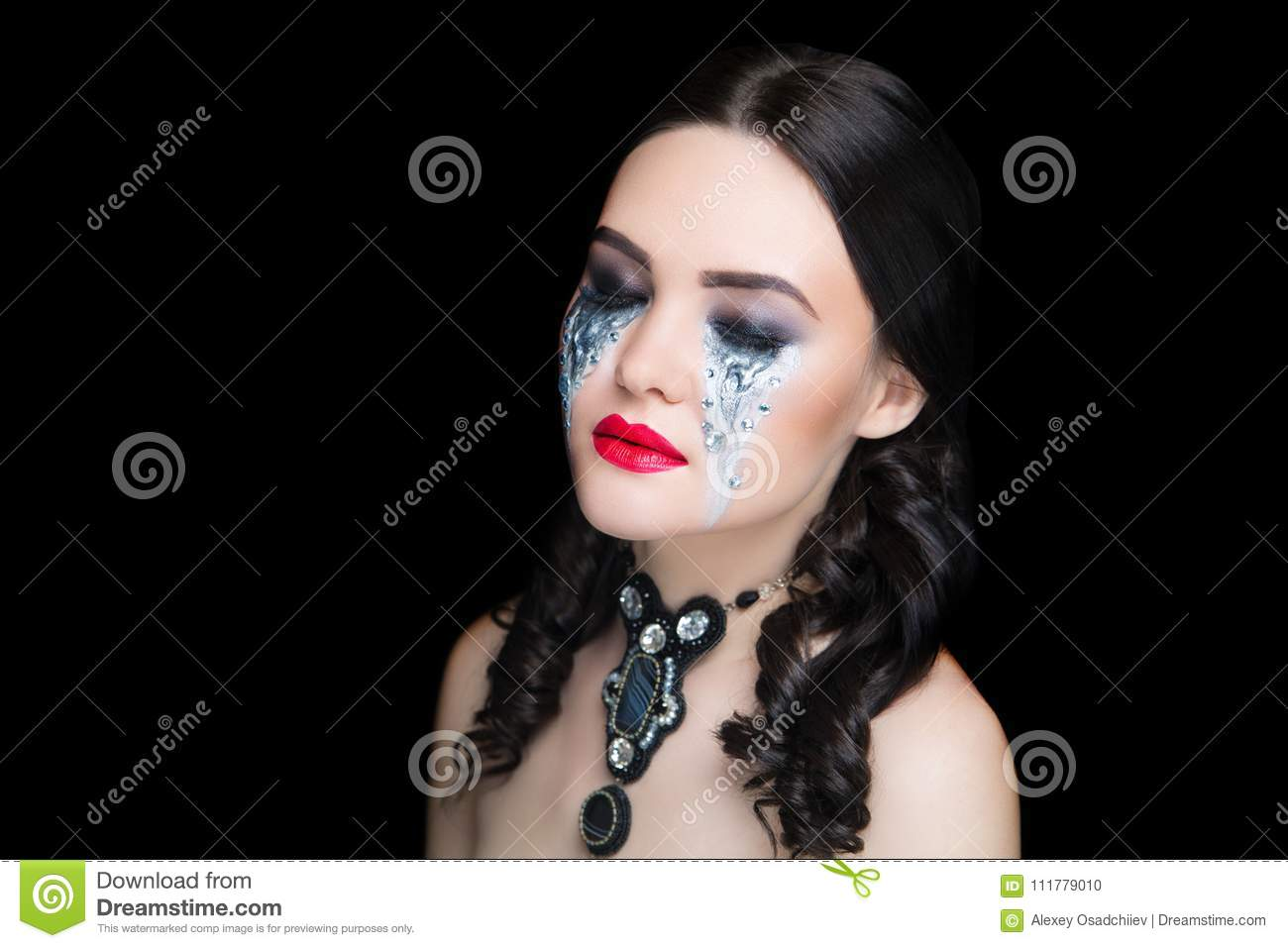 Woman art make up silver tears