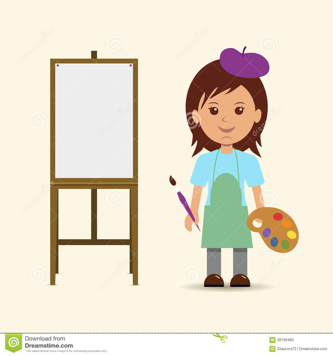 Woman Artist And Easel. Stock Vector - Image: 56190462