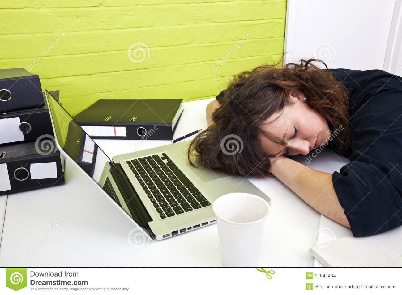 Woman Asleep At Her Desk Stock Images - Image: 31843484