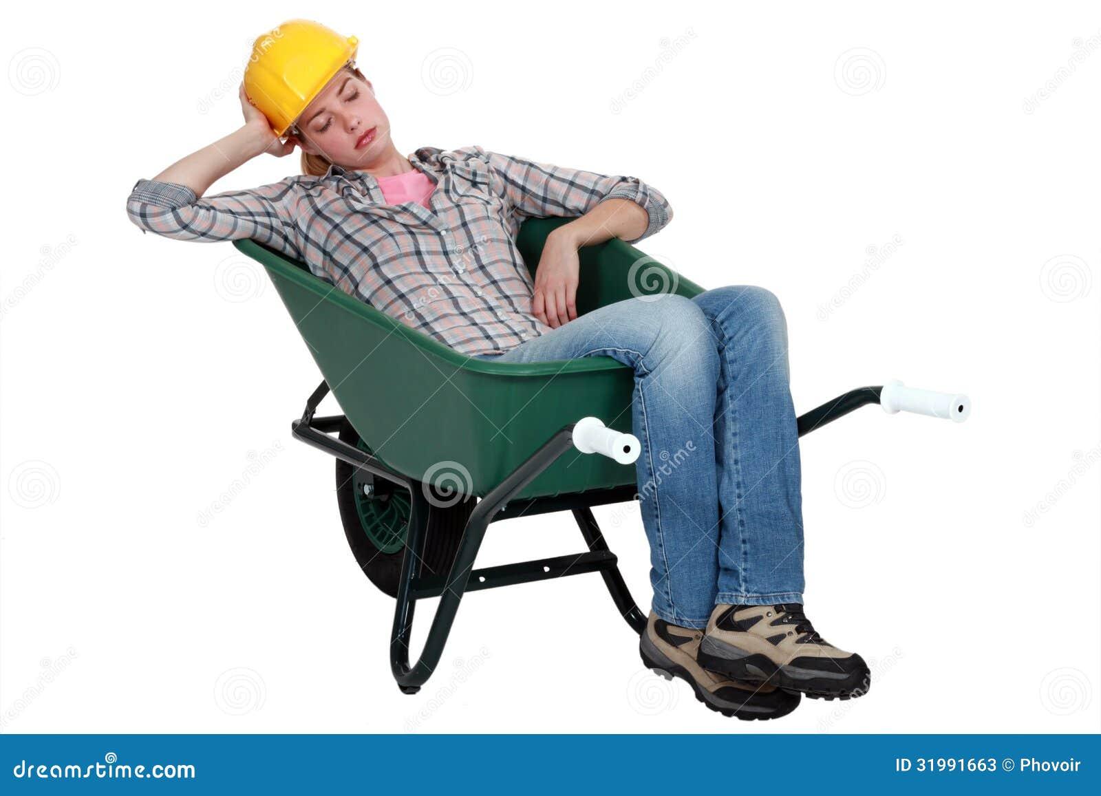 Woman Asleep In Wheelbarrow Stock Image - Image of heap ...