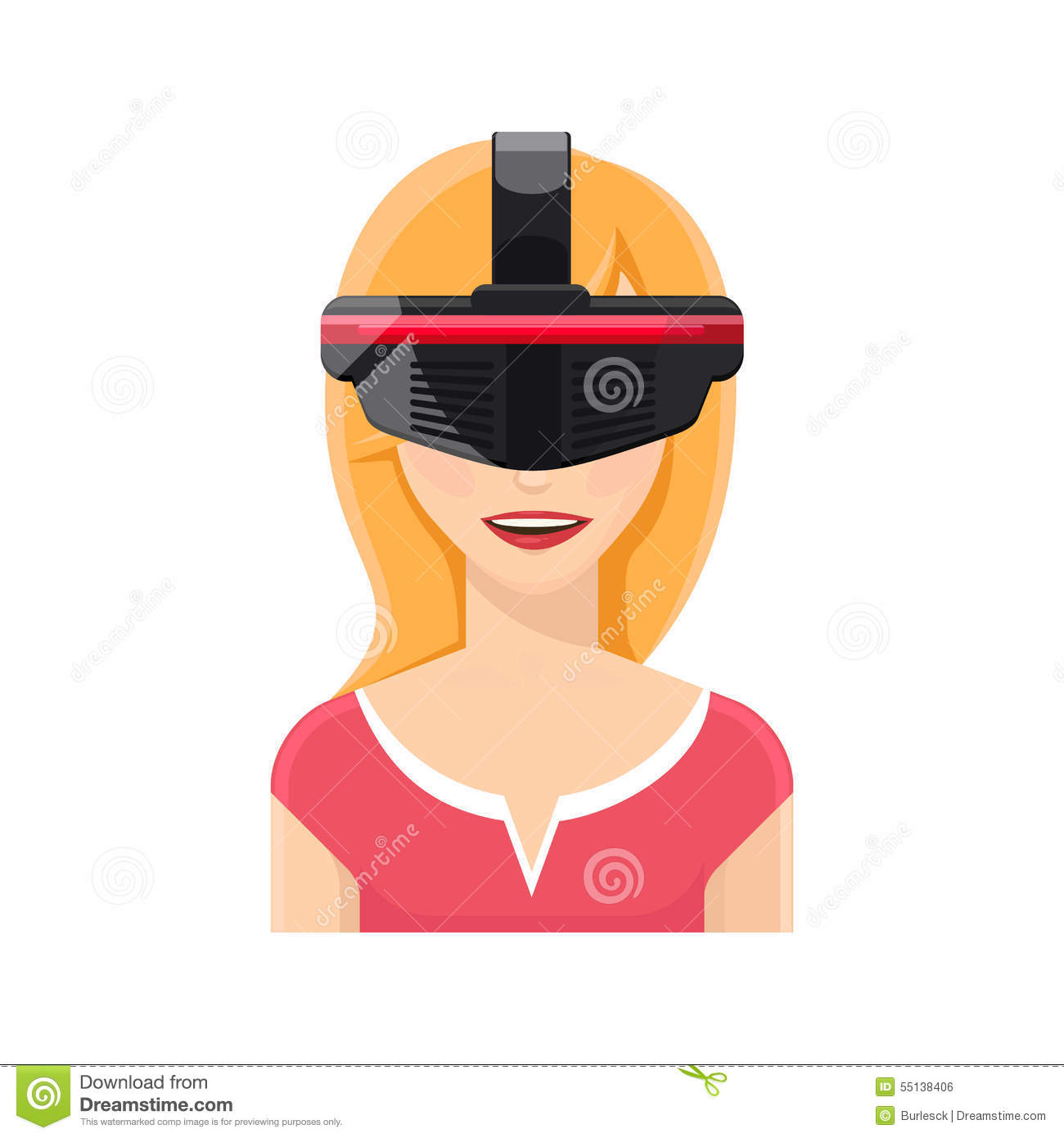 Woman Avatar In Virtual Reality Glasses Stock Vector