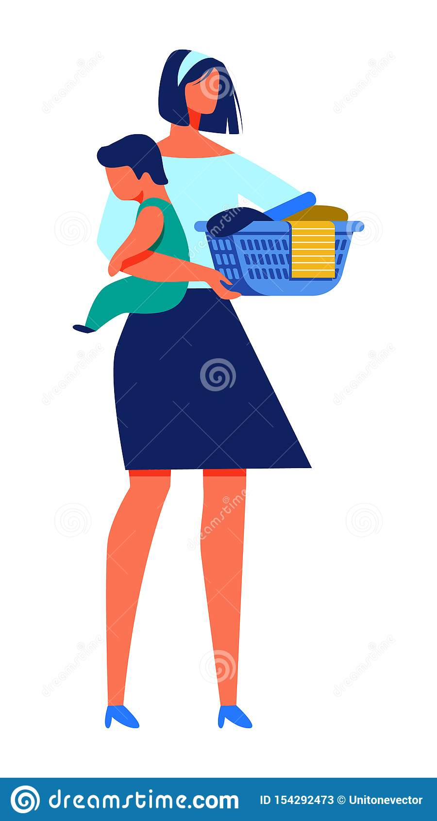 Woman with Baby in Hand Hold Basket with Laundry.