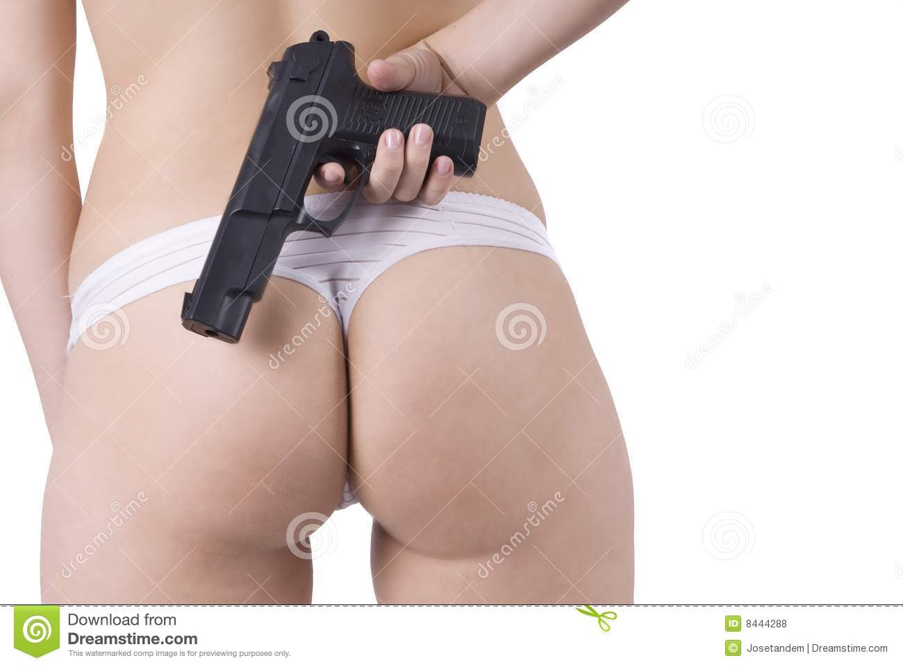 Woman back bottom and gun in lingerie