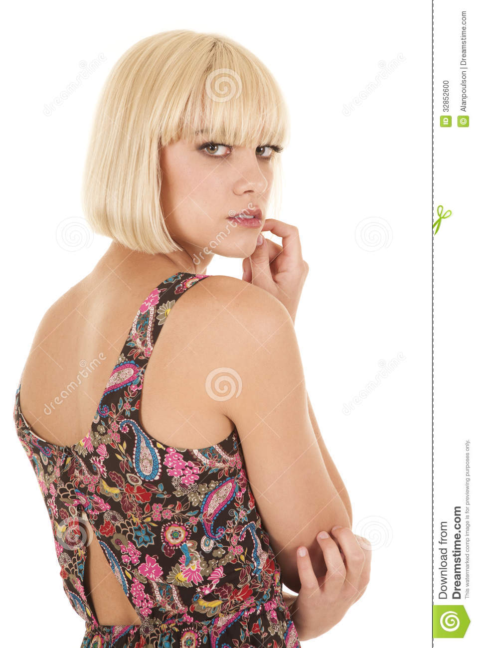 Woman Back Look Over Shoulder Hand Mouth Stock Photo ...