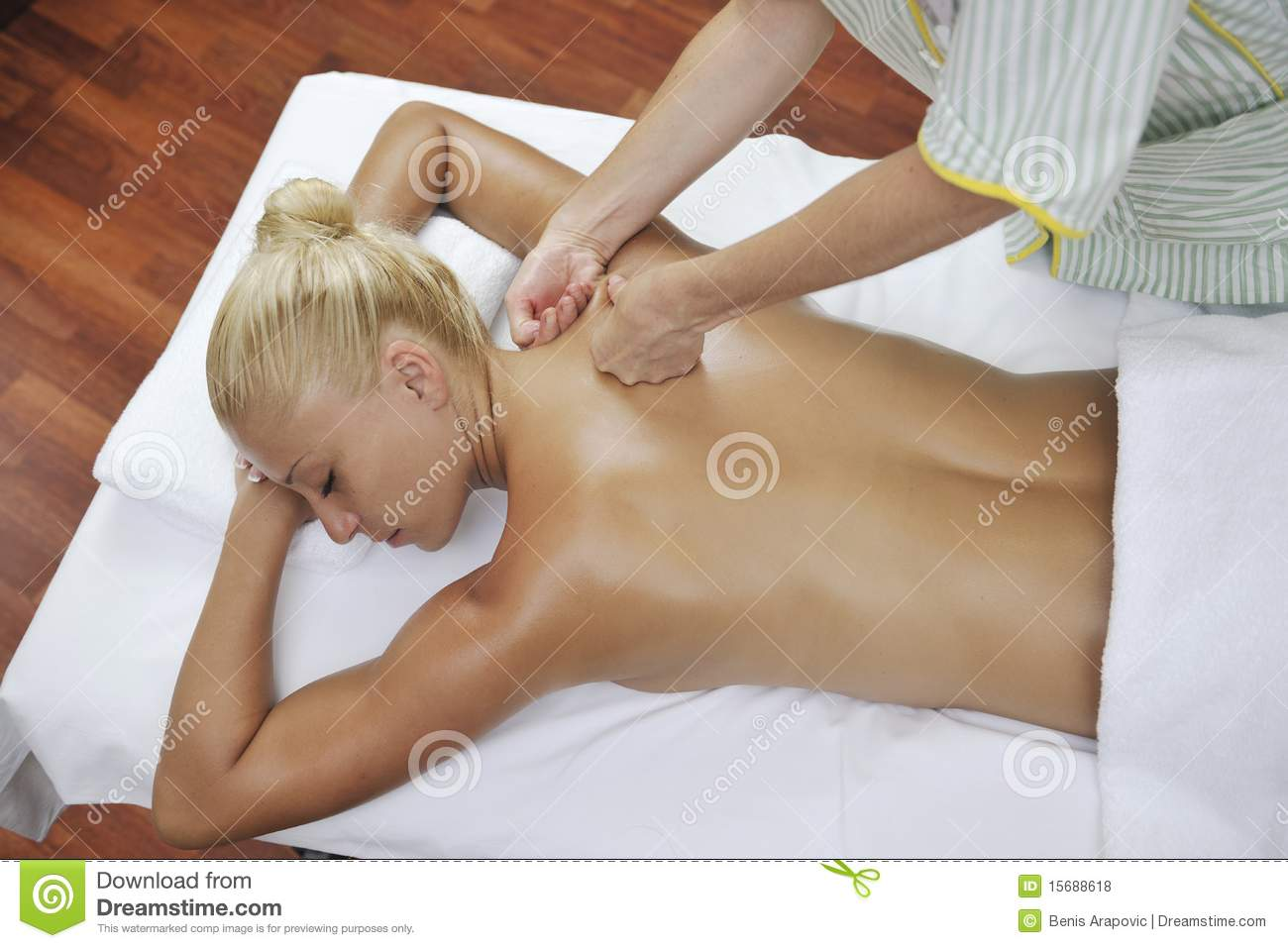 Woman back massage treatment