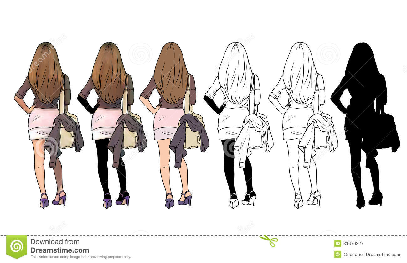 This is a picture of Sizzling Girl Back View Drawing