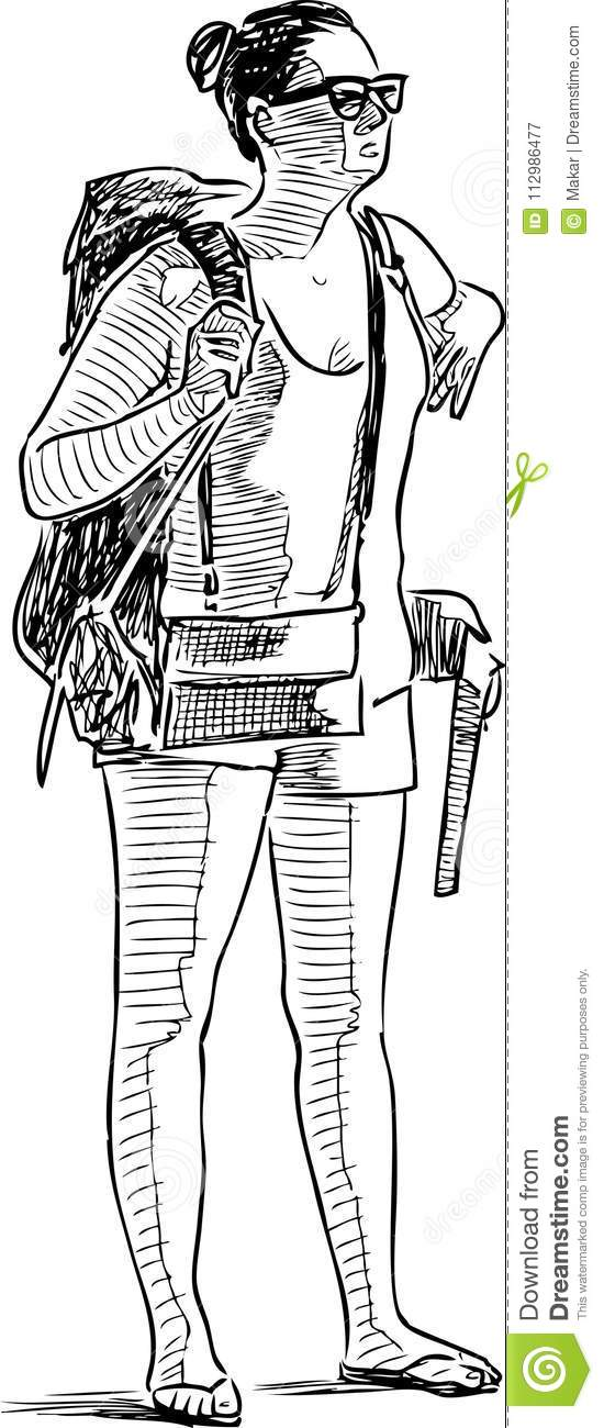 A woman with a backpack on a vacation