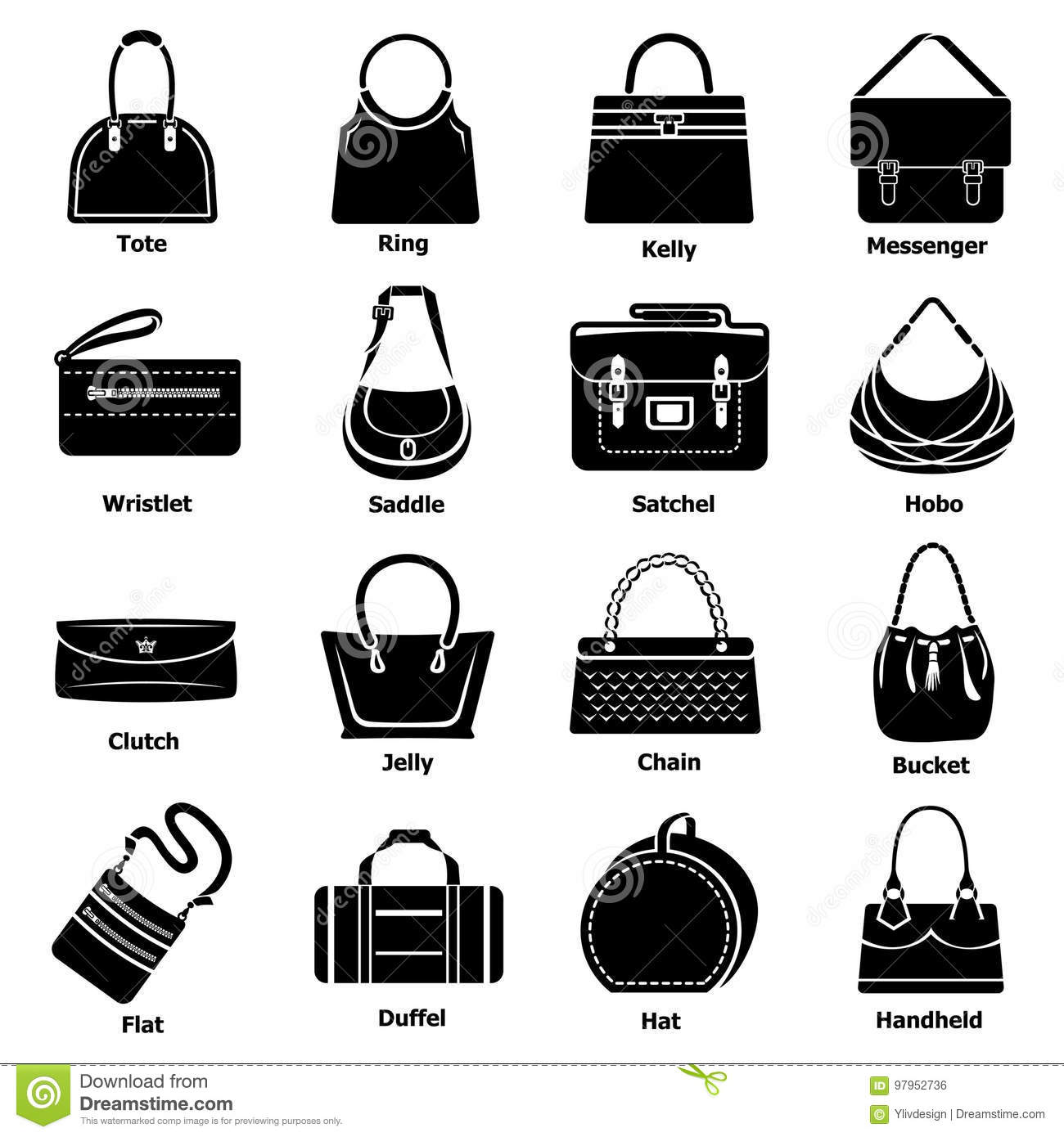 100827eae8 Woman bag types icons set. Simple illustration of 16 woman bag types vector  icons for web