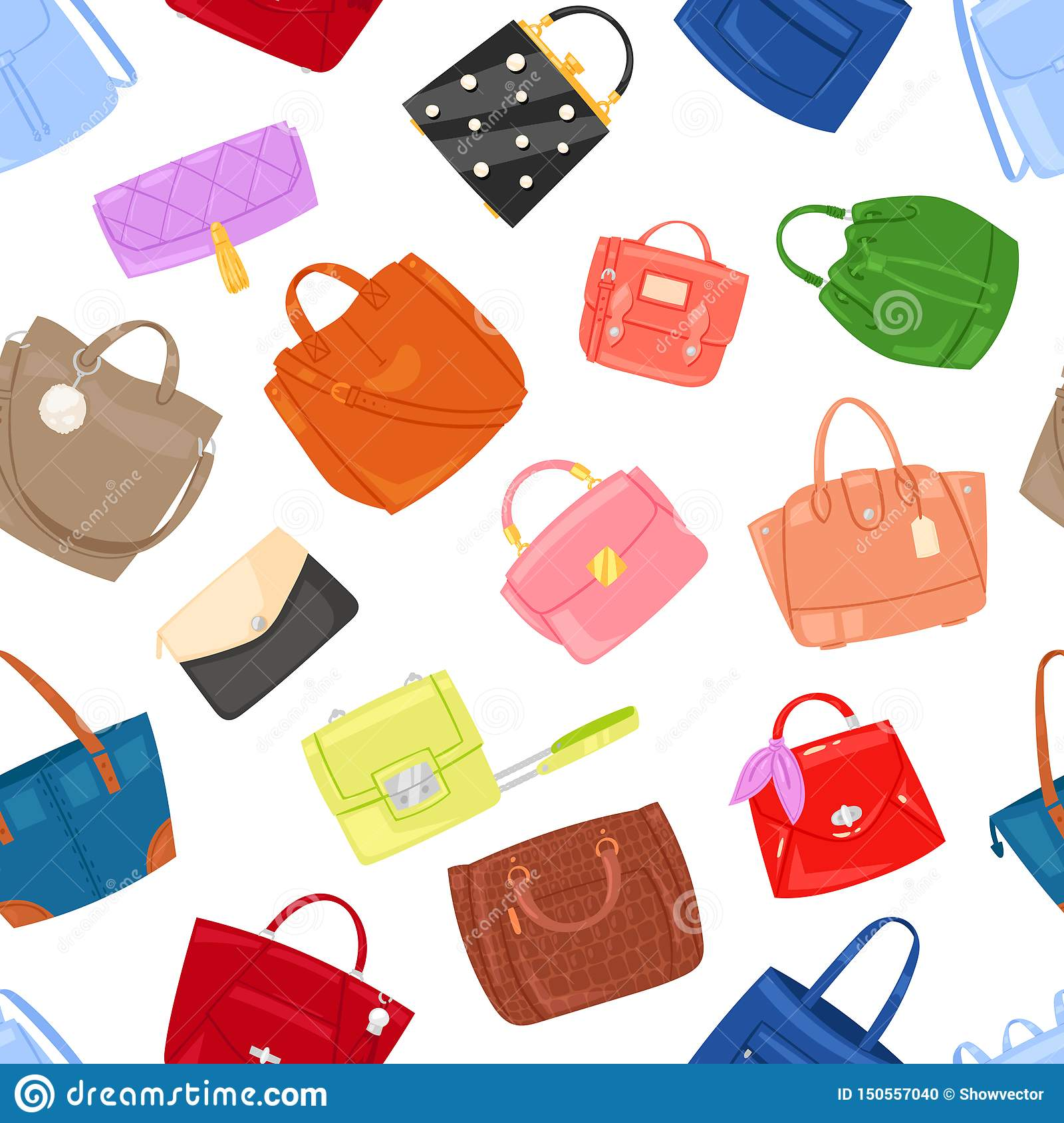 Woman bag vector girls handbag or purse and shopping-bag or clutch from fashion store illustration baggy set of shoppers