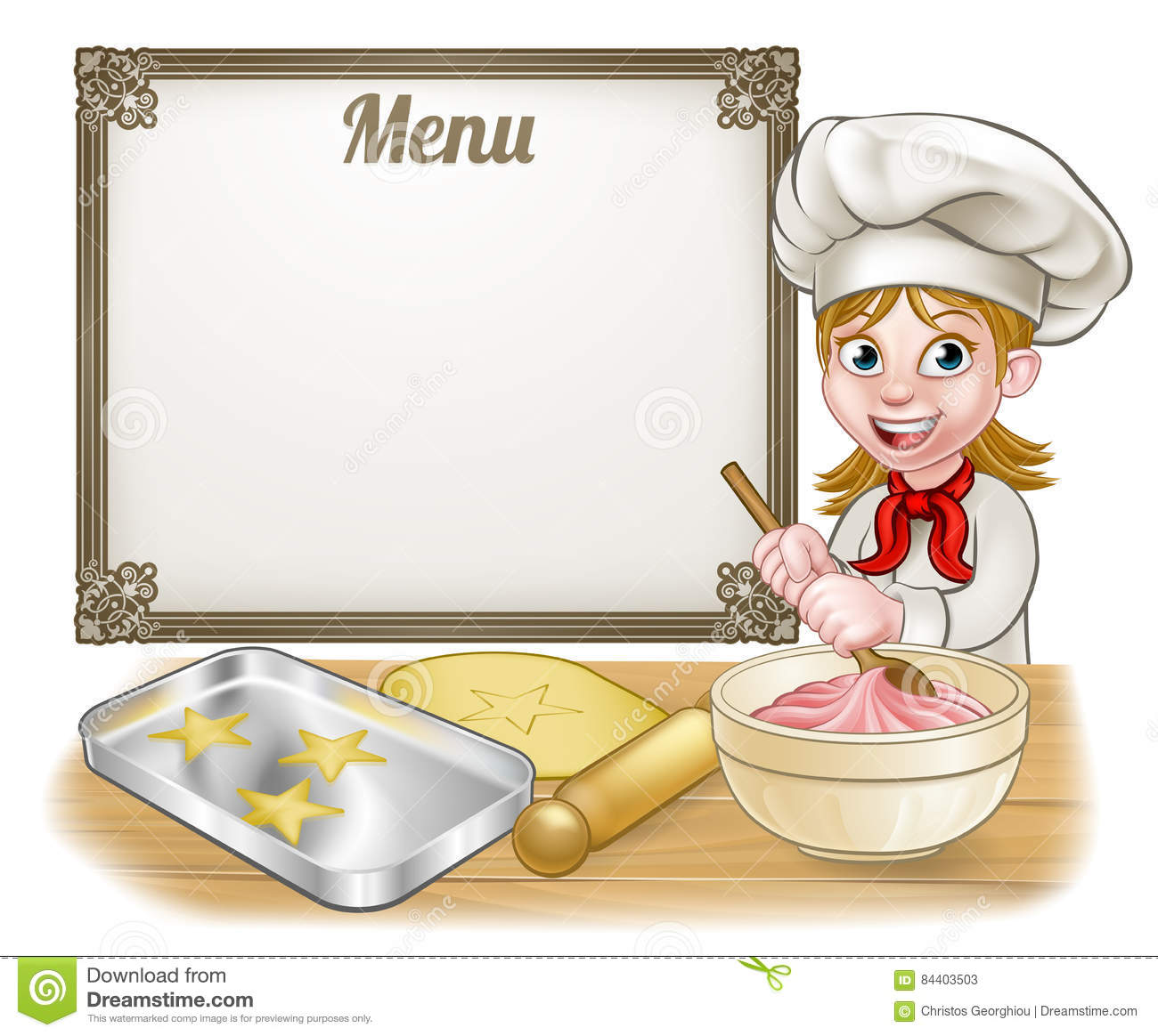 Woman Baker Or Pastry Chef Menu Sign Stock Vector ...