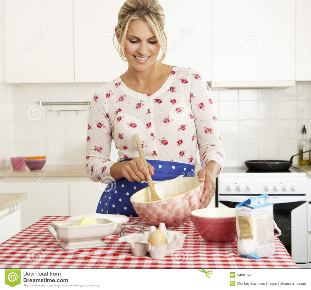 Women Kitchen: Woman Baking In Kitchen Stock Photo. Image Of Butter