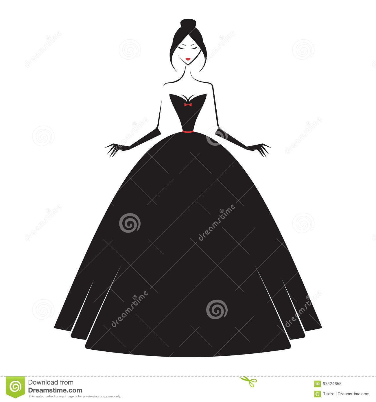 Woman In The Ball Gown Silhouette Illustration 67324658 - Megapixl