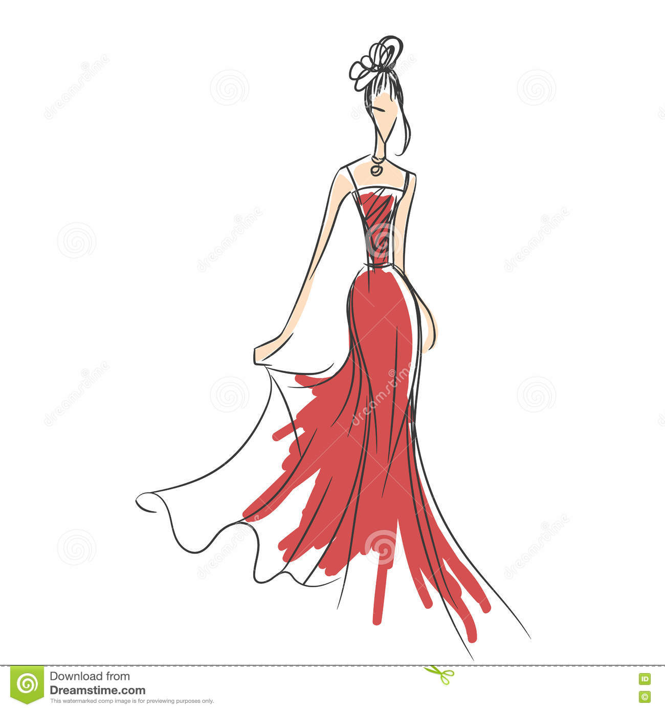Woman In The Ball Gown Silhouette Illustration 70241728 - Megapixl