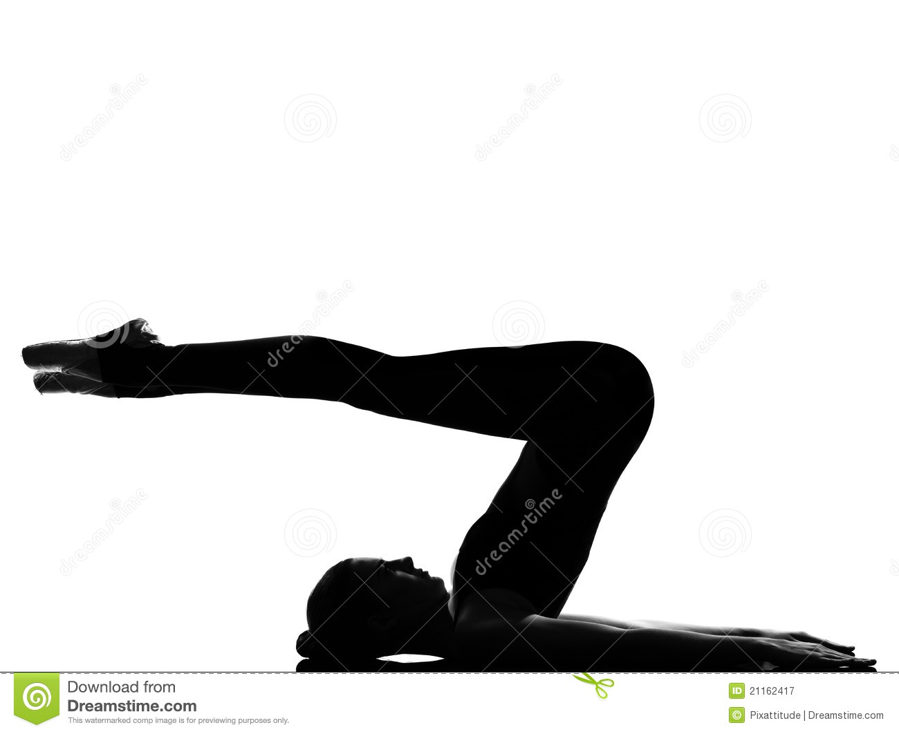 Woman Ballet Dancer Shoulder Stand Yoga Pose