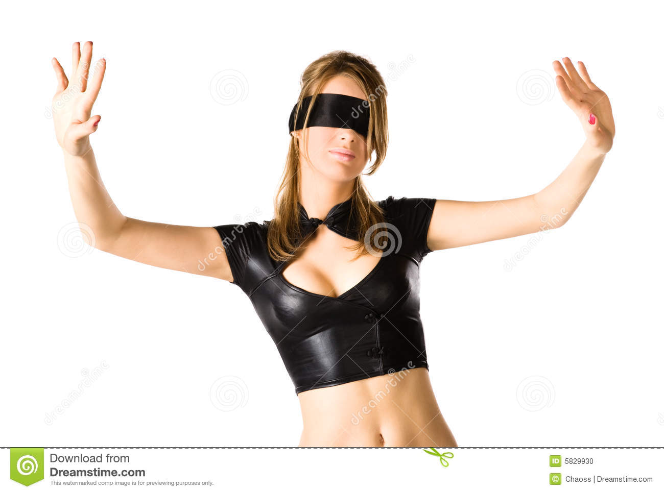Woman with band on eyes