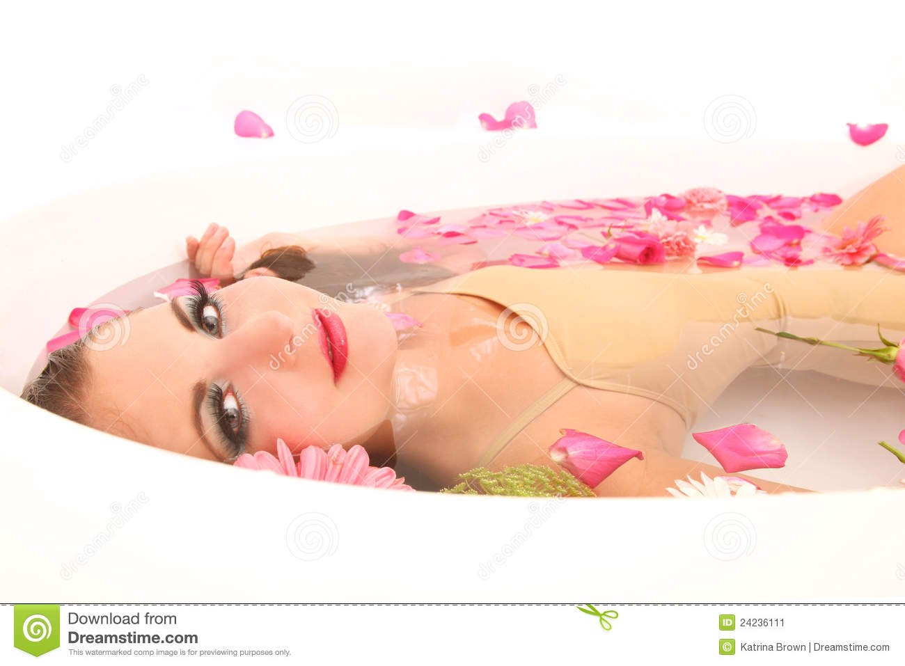 Woman In A Bath Tub Full Of Flowers Stock Image Image Of