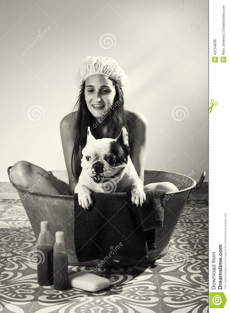 Woman Bathing A Dog In Black And White Stock Photo - Image ...