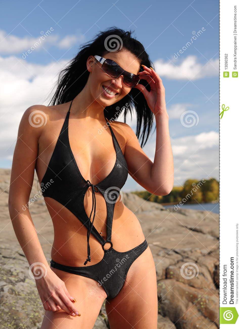 Beautiful Young Woman Outside In Bathing Suit Royalty-Free ...