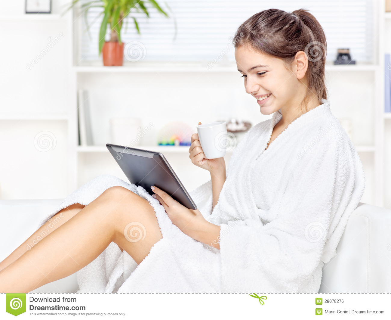 Woman In Bathrobe Relaxing At Home Stock Photo Image