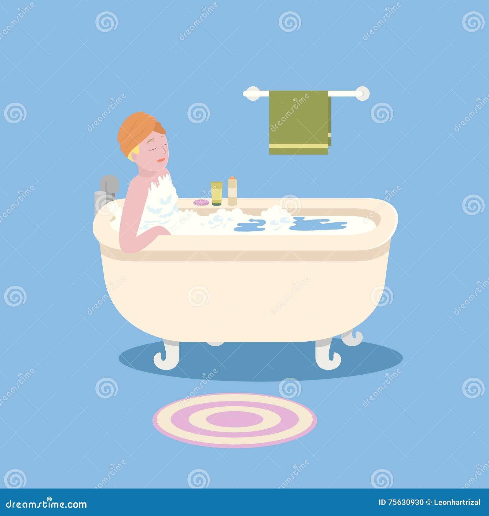 Woman in bathtub stock vector. Illustration of bath, conditioner ...