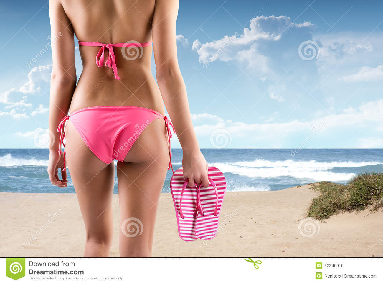 a9e8a99e76c0e2 Woman On A Beach With Bikini And Flip Flops Stock Photo - Image of ...