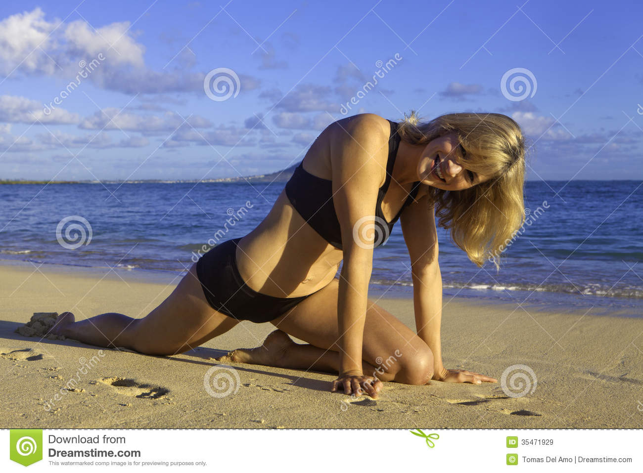 Woman at the beach in hawaii