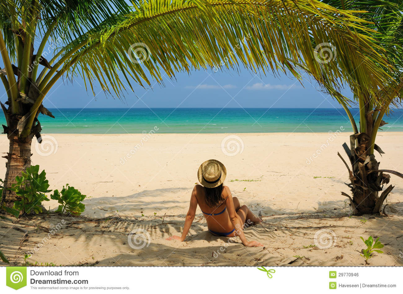 Young Woman Under The Palm Trees Stock Image - Image of