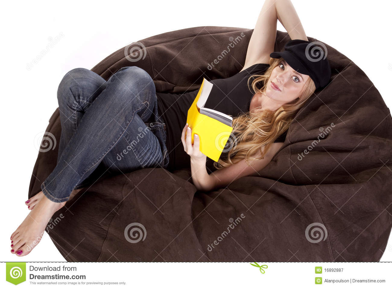 Tremendous Woman On Bean Bag Reading Stock Image Image Of Literature Caraccident5 Cool Chair Designs And Ideas Caraccident5Info