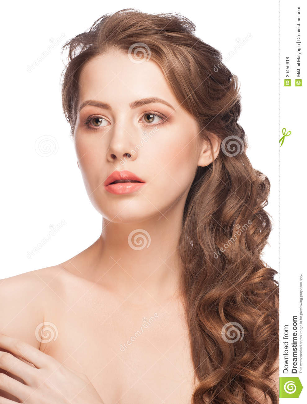 woman with beautiful bridal hairstyle stock photo - image of