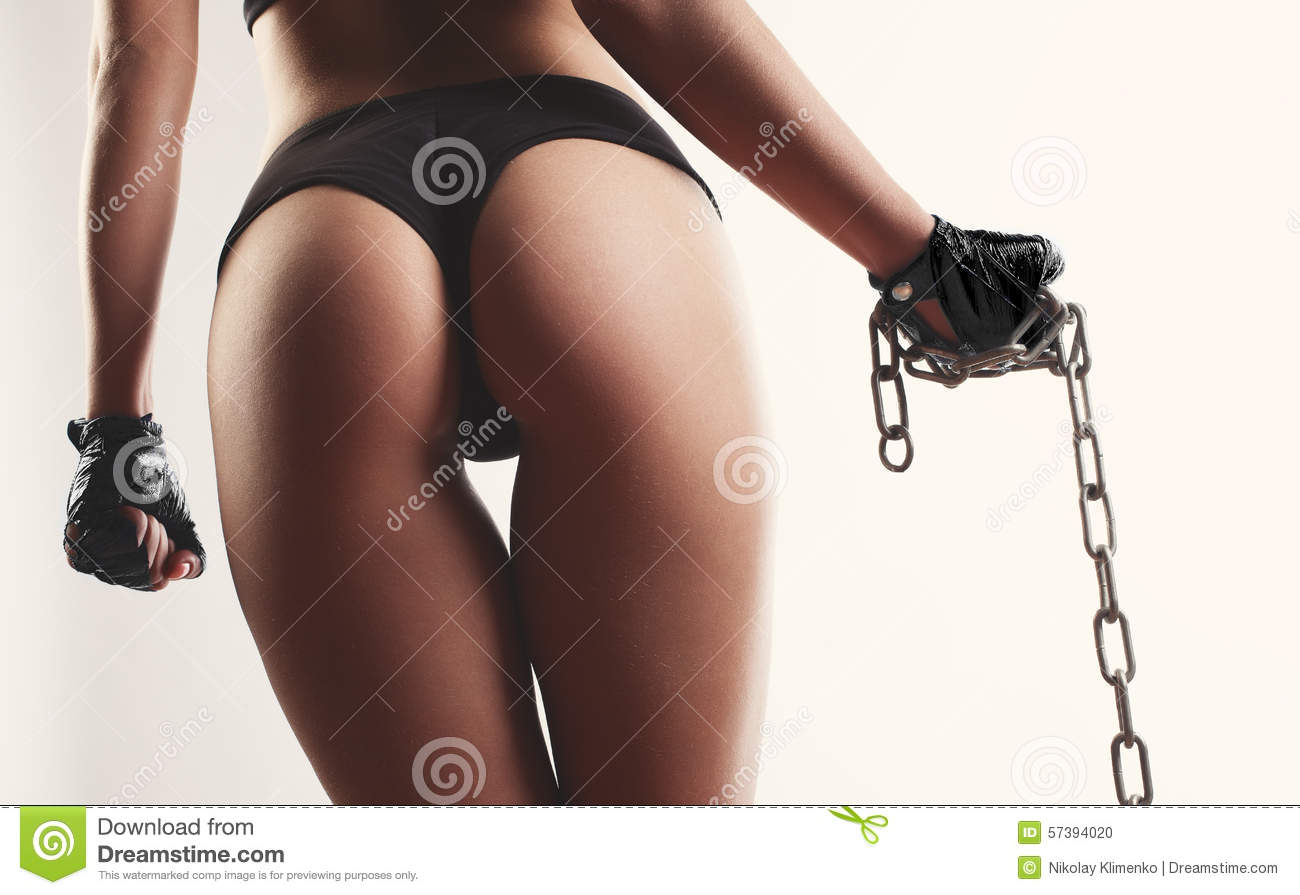 Download Woman Beautiful Buttocks With Chain In Hand Over White Backgroun Stock Photo - Image of closeup, beauty: 57394020
